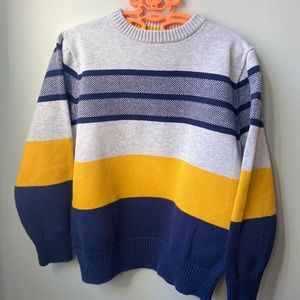 Boys navy blue and yellow striped sweater